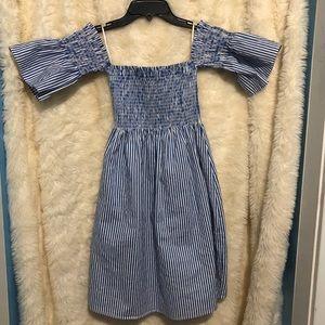 Blue/white striped off shoulder ruched dress